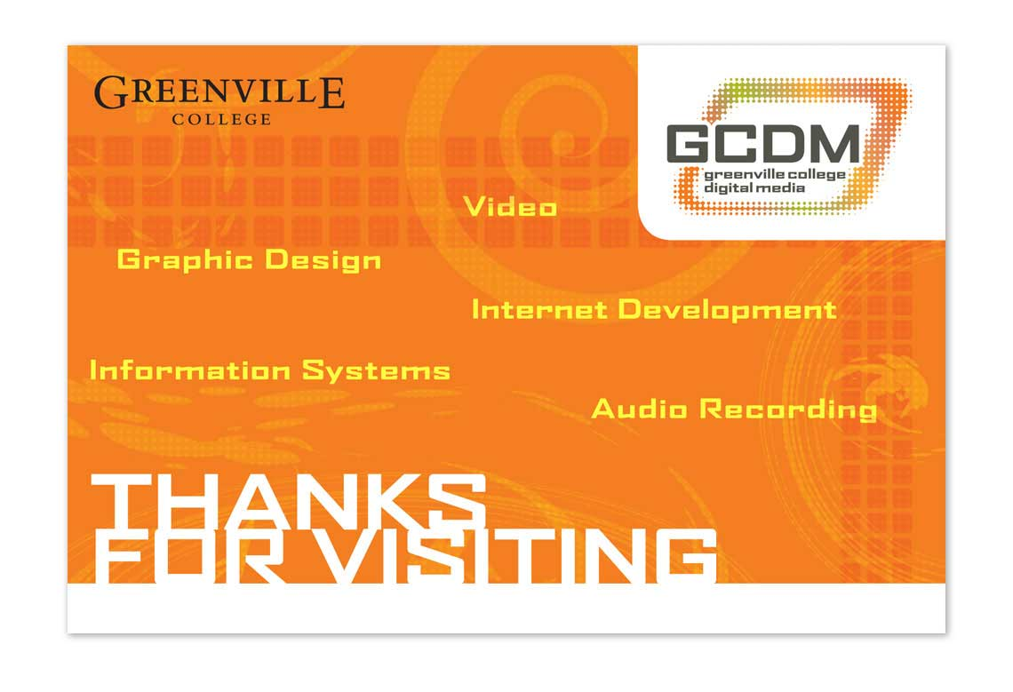 Greenville College Digital Media Thank You Postcard